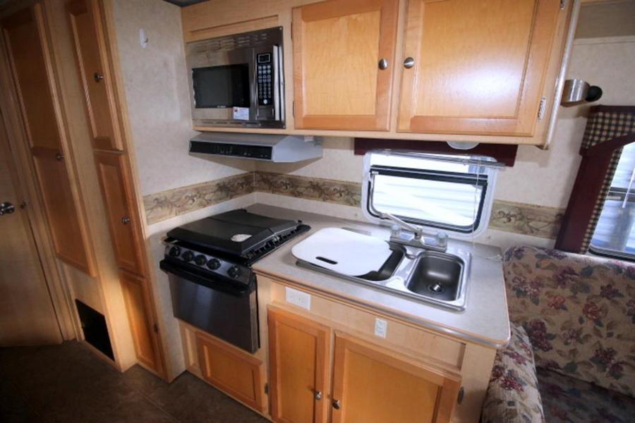Travel Trailer Kitchen Before Reno Photo