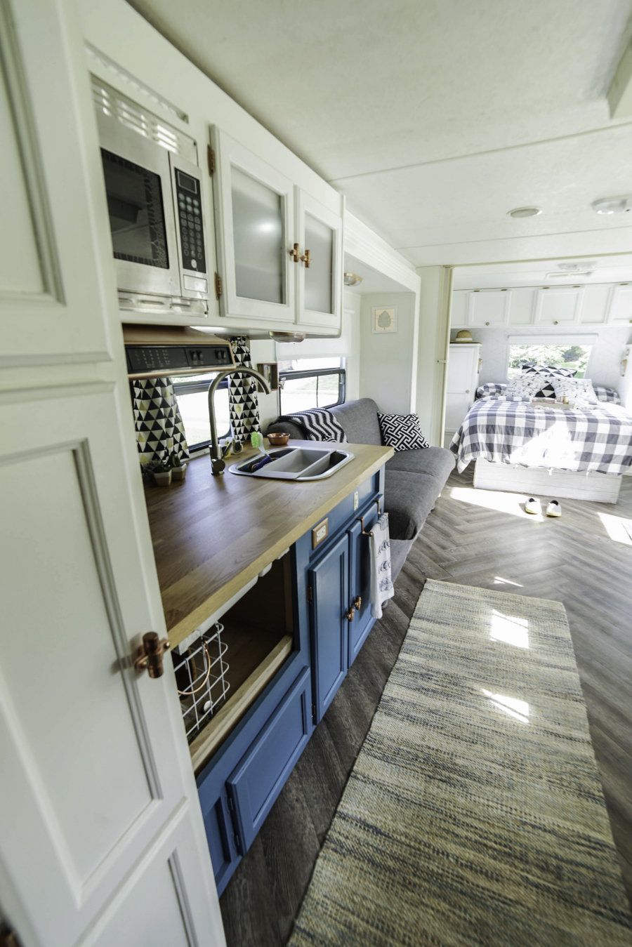 remodeled travel trailer with modern country interior