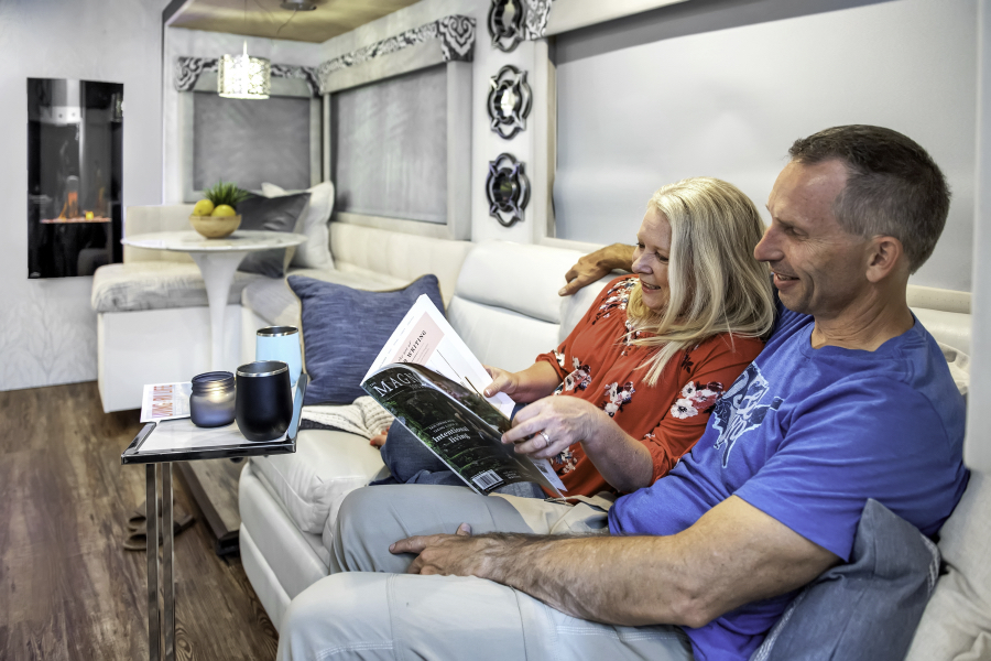 Marc and Julie of RVLove.com and their renovated motorhome