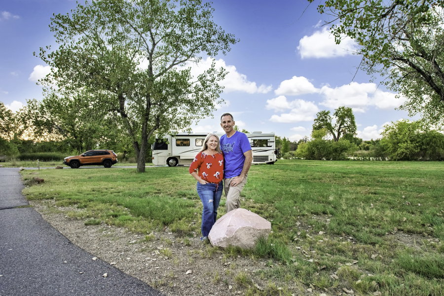 Marc and Julie of RVLove in front of RV