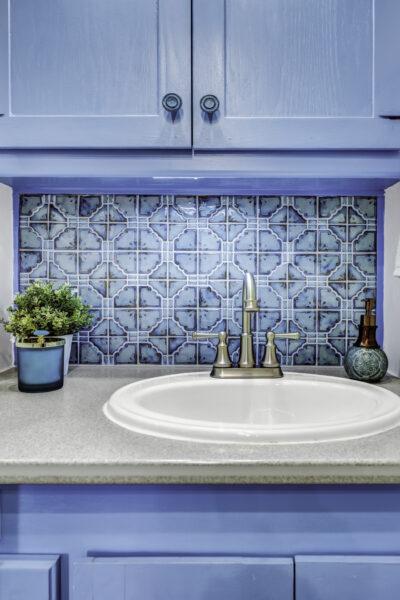 modern blue rv bathroom