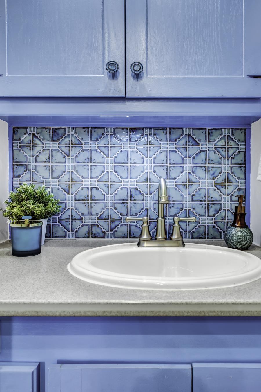 renovated Blue RV bathroom