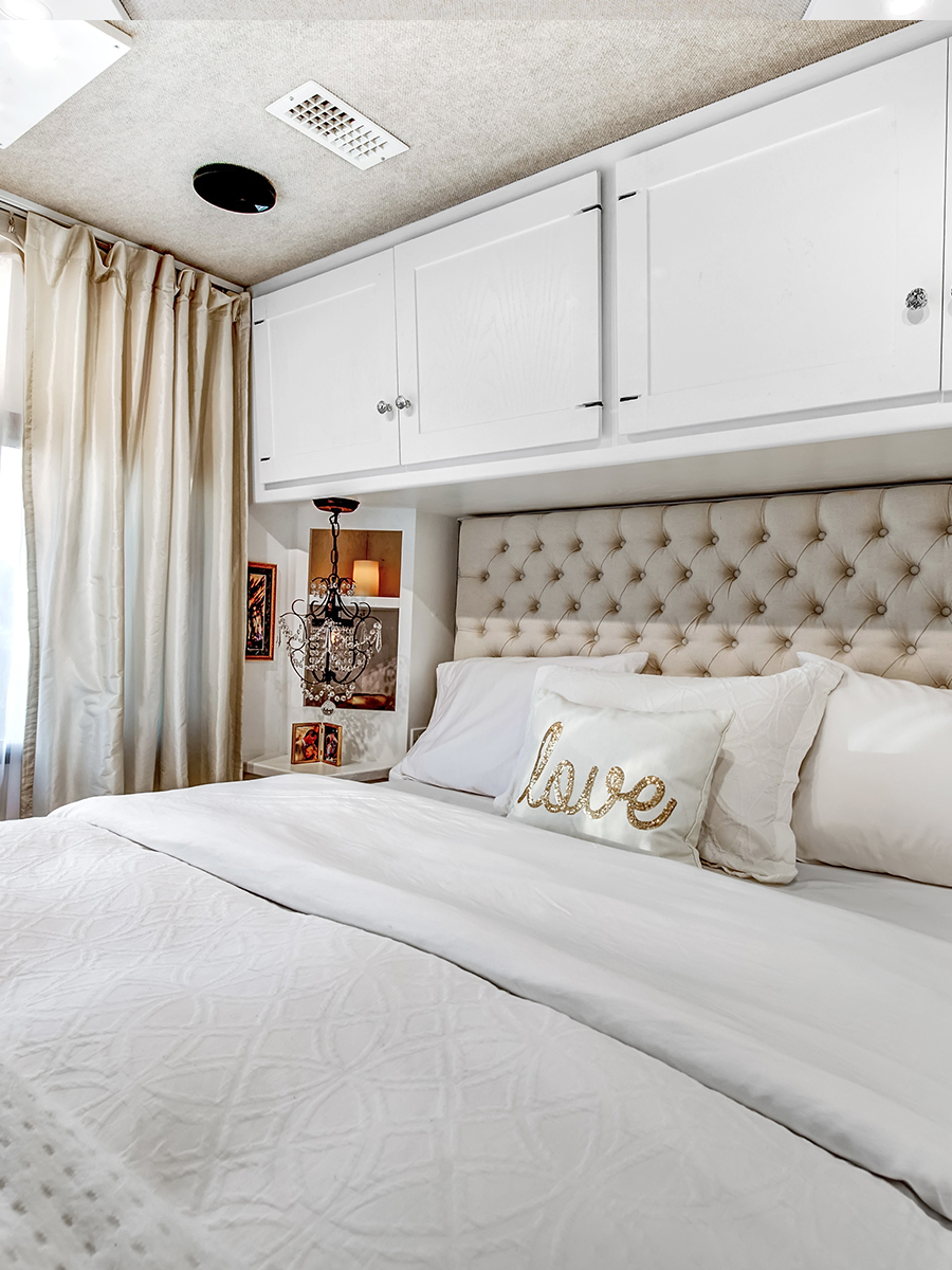 Glam RV bedroom from RVlove