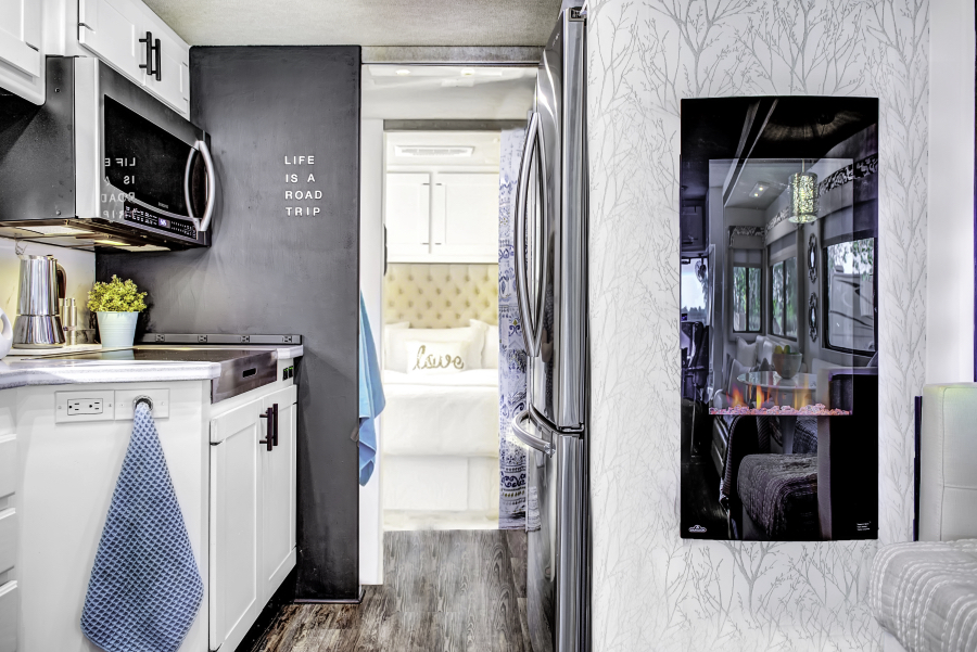 RV reno with electric fireplace