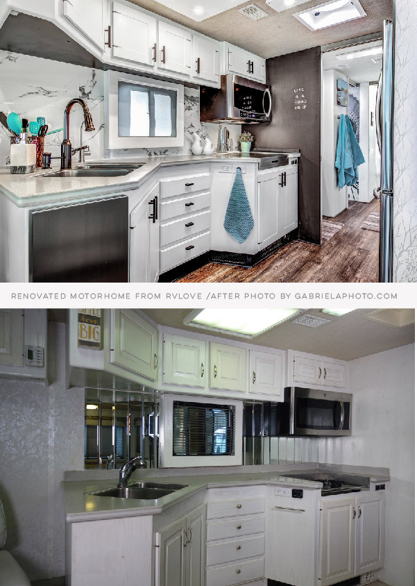 RV Remodel before and after featuring RVLove