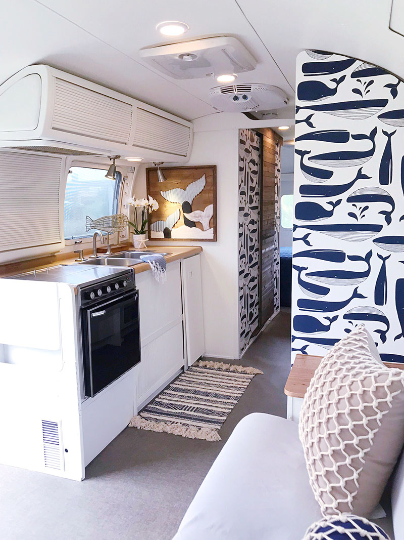 Remodeled Airstream with nautical interior