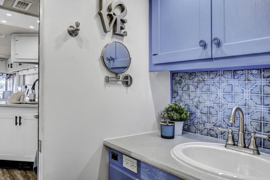 Blue RV Bathroom remodel