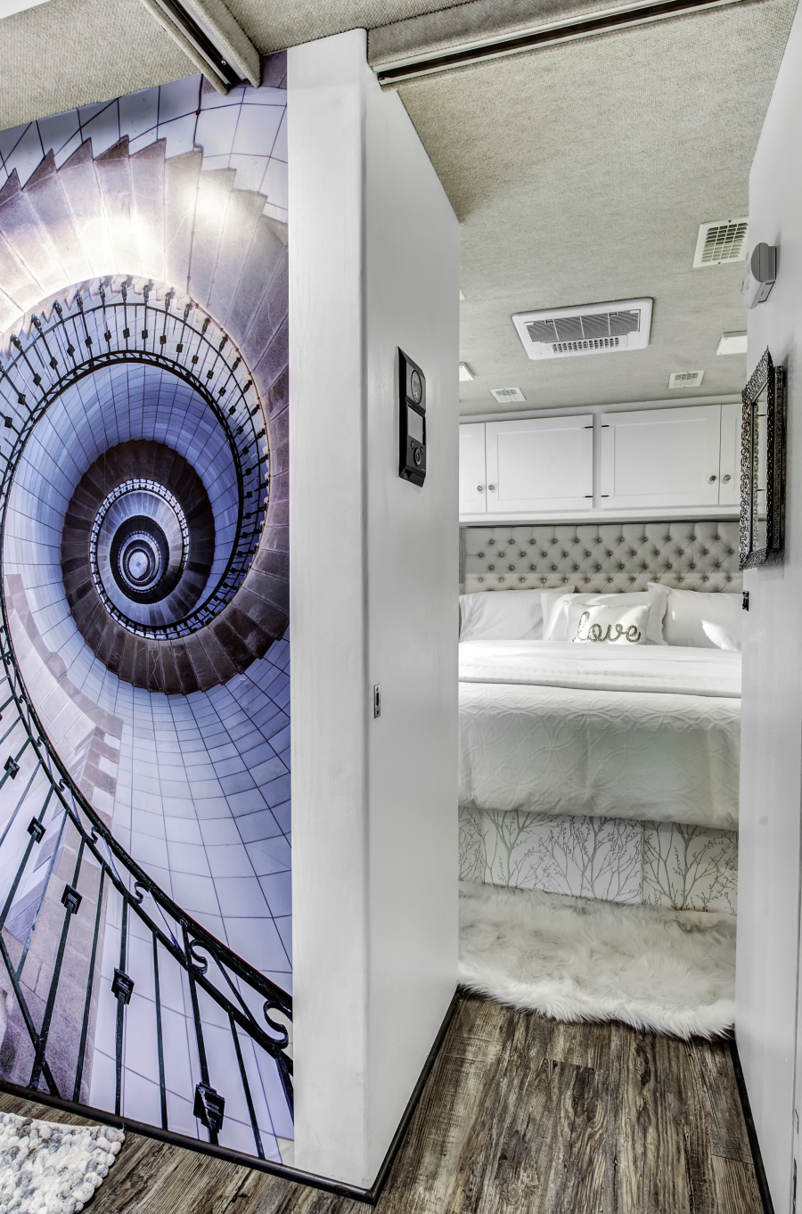 contemporary RV interior with wall mural