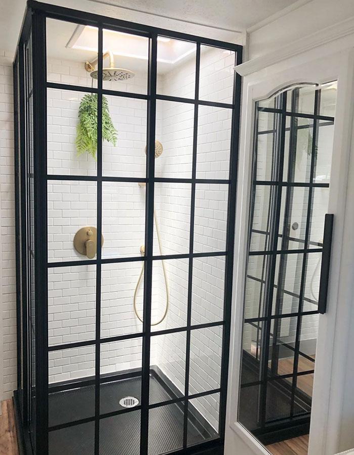 modern 5th wheel bathroom renovation from RV designer @rvfixerupper