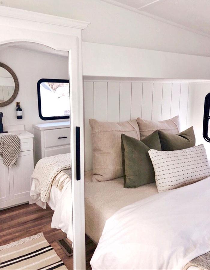 modern 5th wheel bedroom renovation from RV designer @rvfixerupper