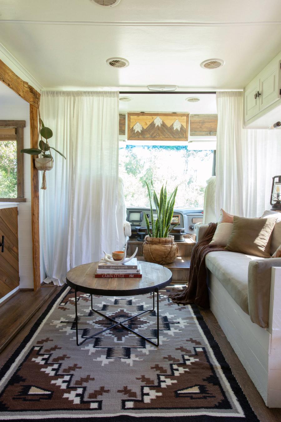 rustic RV living room