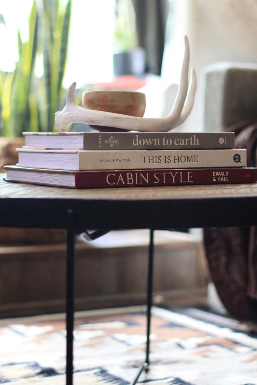 rustic design books on coffee table