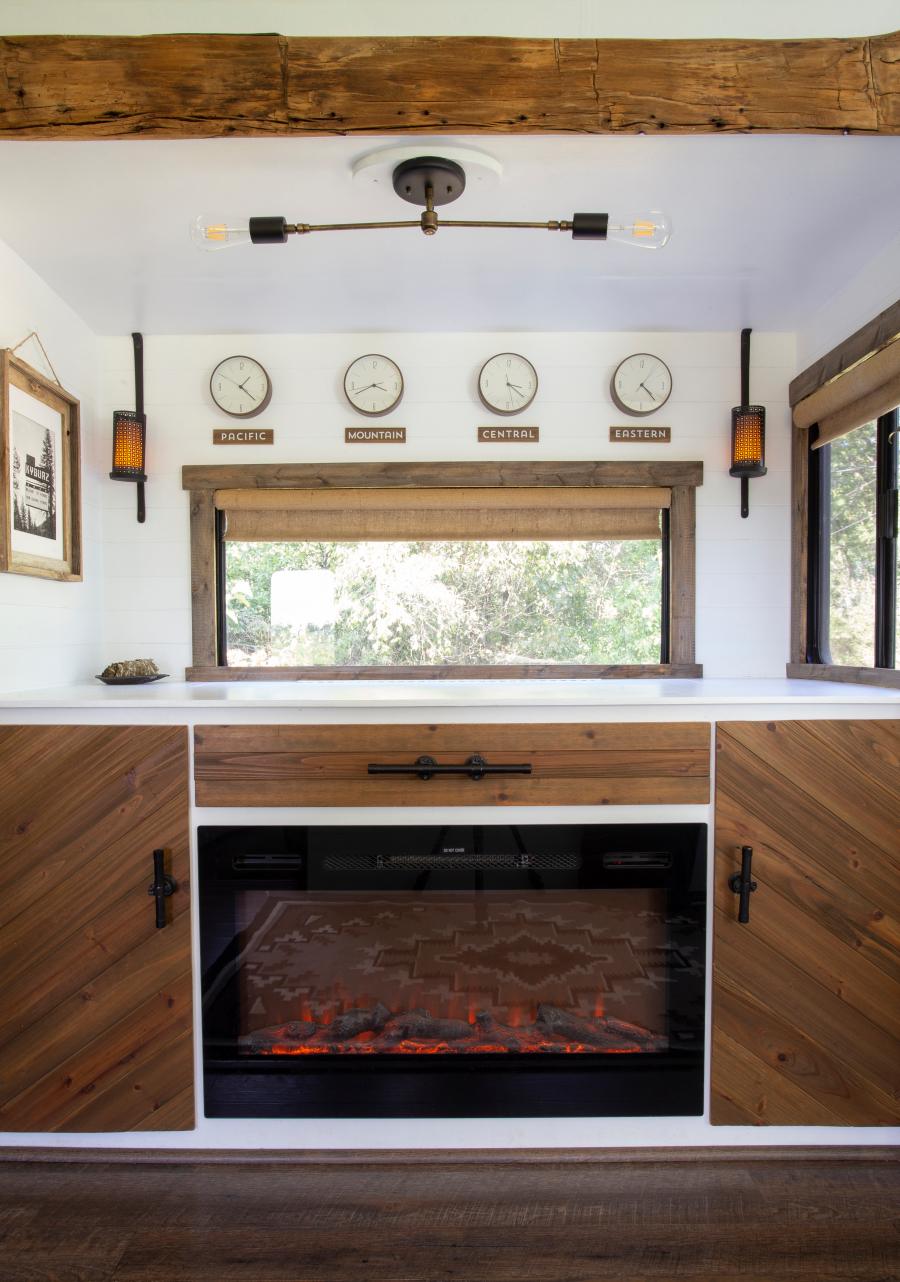 framed RV windows with wood