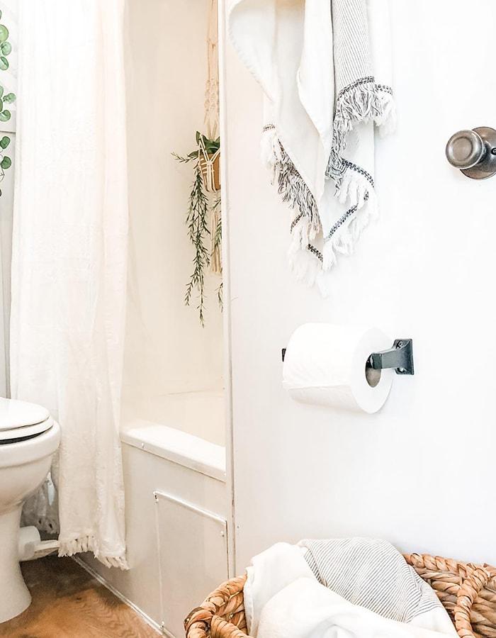 modern farmhouse inspired bathroom in RV