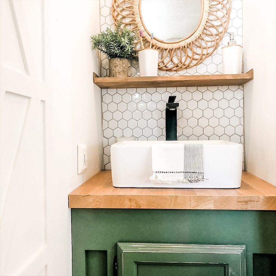 Modern Farmhouse RV Bathroom with green cabinet
