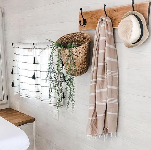 modern farmhouse bedroom in RV