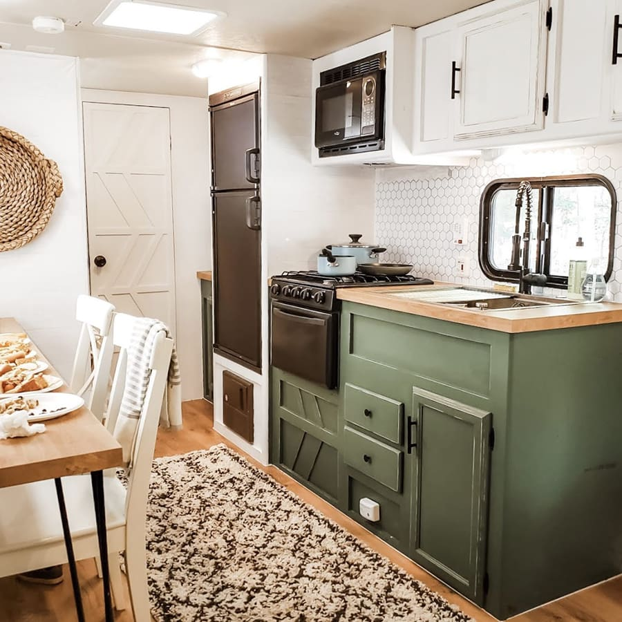 RV Kitchen renovation with green cabinets