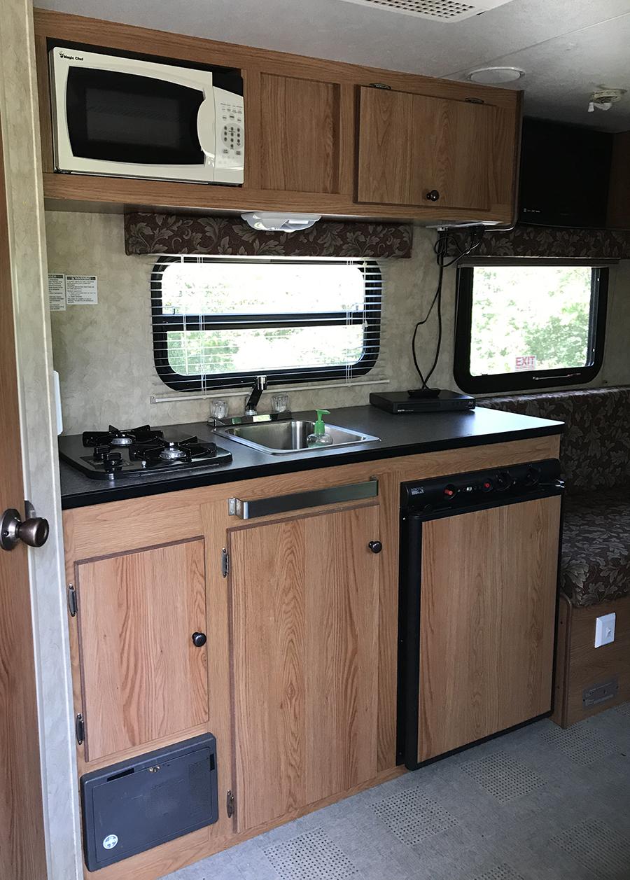 camper kitchen before photo