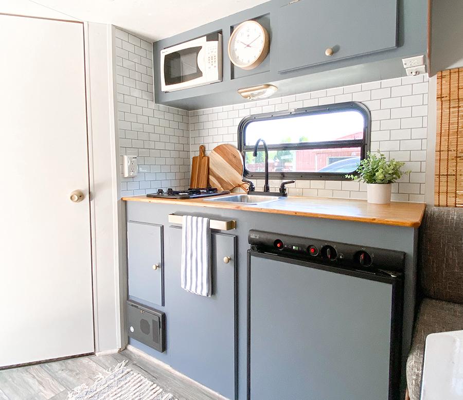 updated camper kitchen