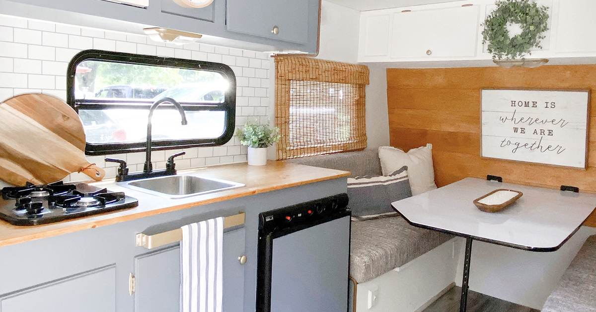gray cabinets in small camper