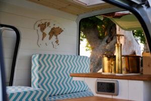 wood map inside camper van