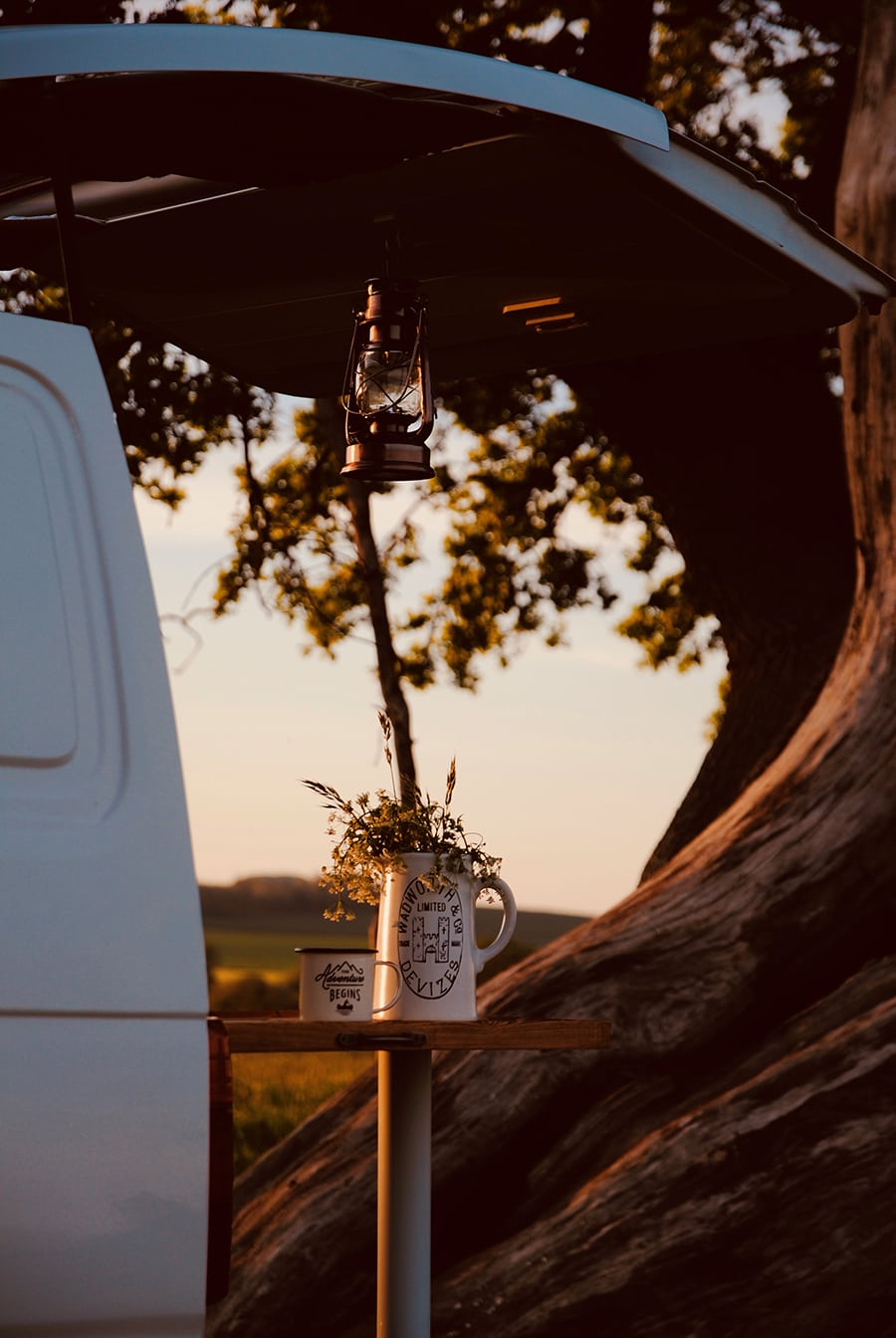 camper van parked in the country