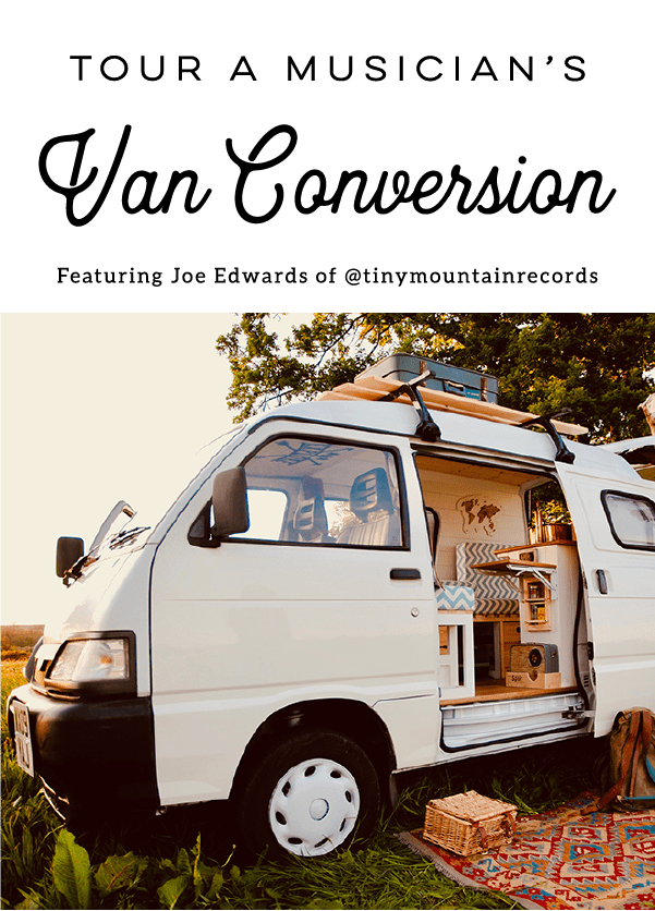 A musician converted this micro van into a cozy camper so he and his wife could spend their free time traveling around Europe