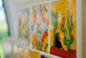 mexican kitchen tiles inside camper van