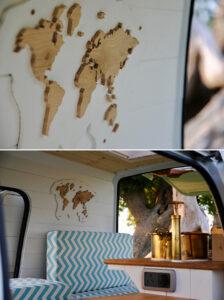wood map inside converted van