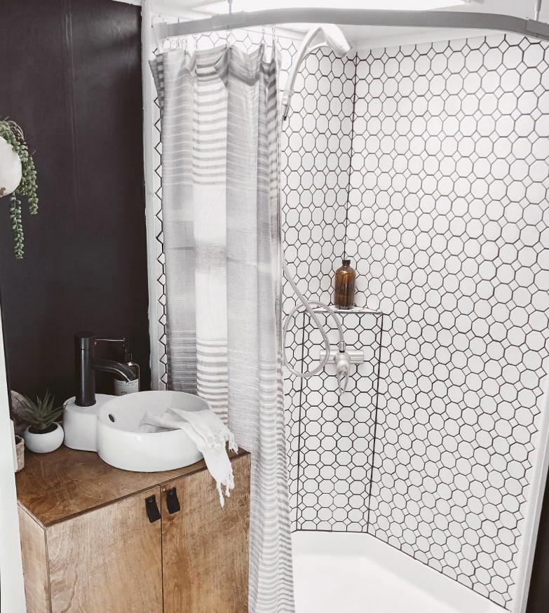 modern rustic RV bathroom