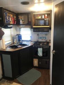 camper kitchen before reno