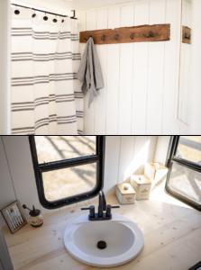rustic vintage camper bathroom