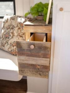 rustic reclaimed wood drawer inside camper