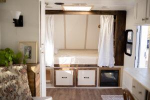 bed reading nook built inside camper