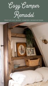 cozy vintage inspired bed reading nook inside camper