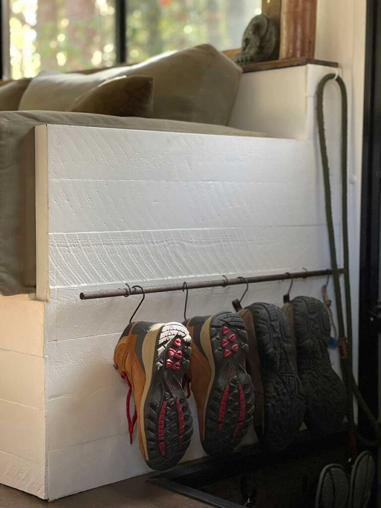 RV shoe storage hanging from hooks
