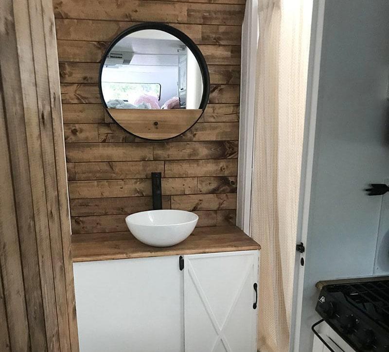 rustic camper bathroom