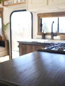 RV black kitchen countertops