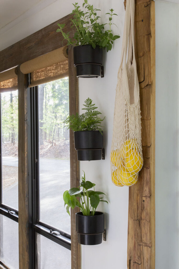 wall planters attached to wall in RV