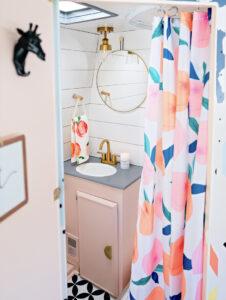 pretty and playful vintage camper bathroom