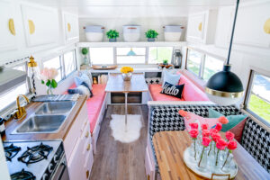 colorful vintage camper remodel