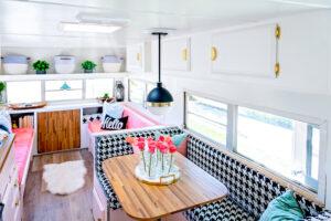 houndstooth dinette booth in camper
