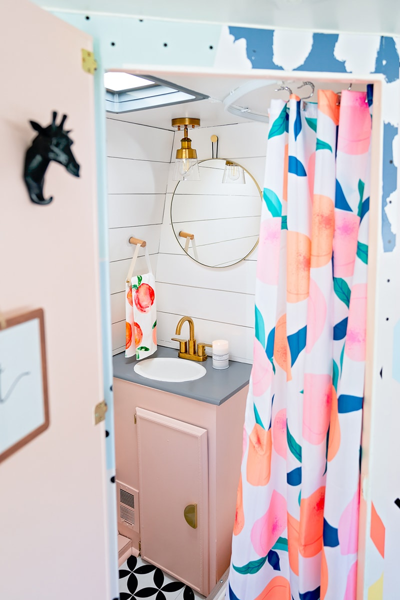 pretty and playful pink vintage camper interior