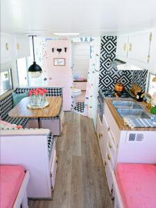 pink vintage camper interior