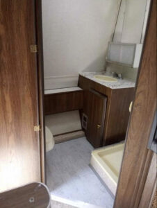 vintage camper bathroom before remodel