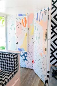 camper remodel with pop wallpaper mural