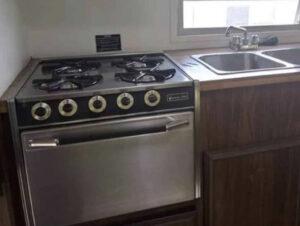 vintage camper kitchen before remodel