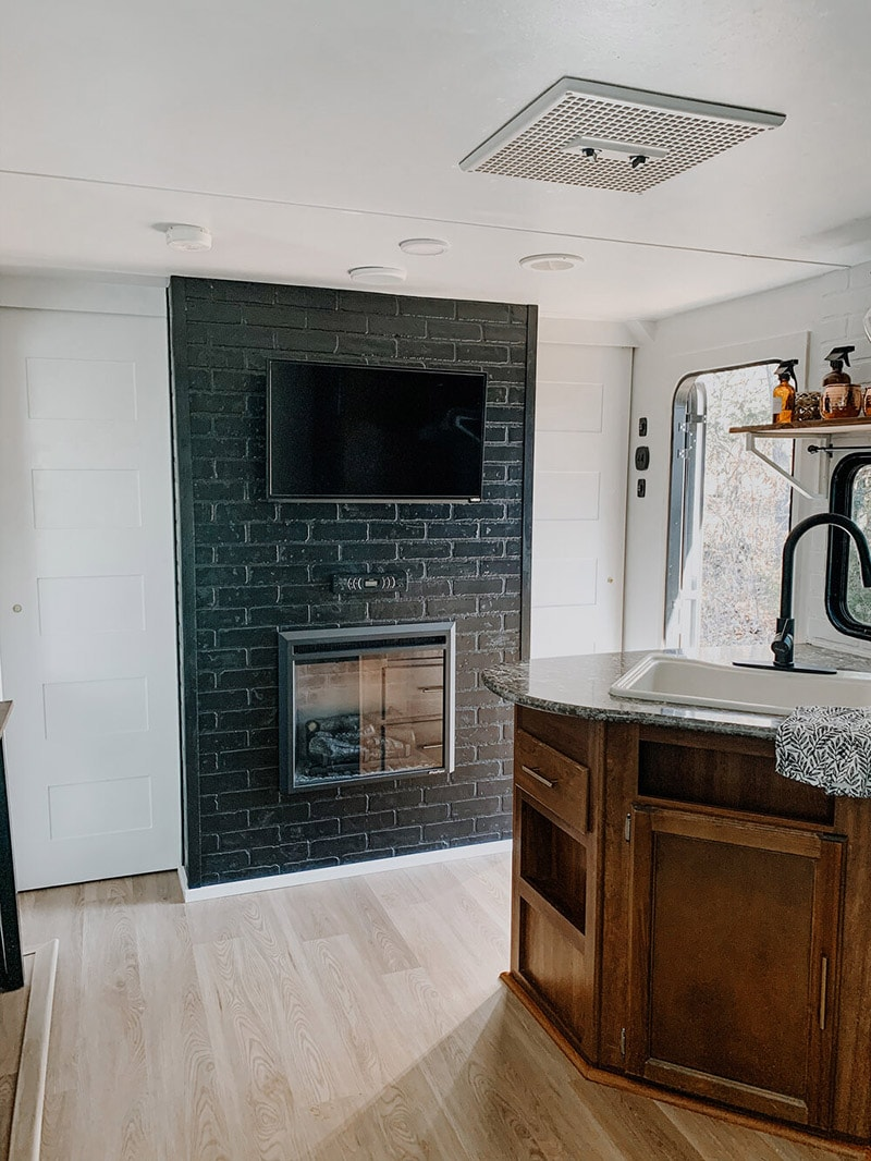 fireplace in travel trailer