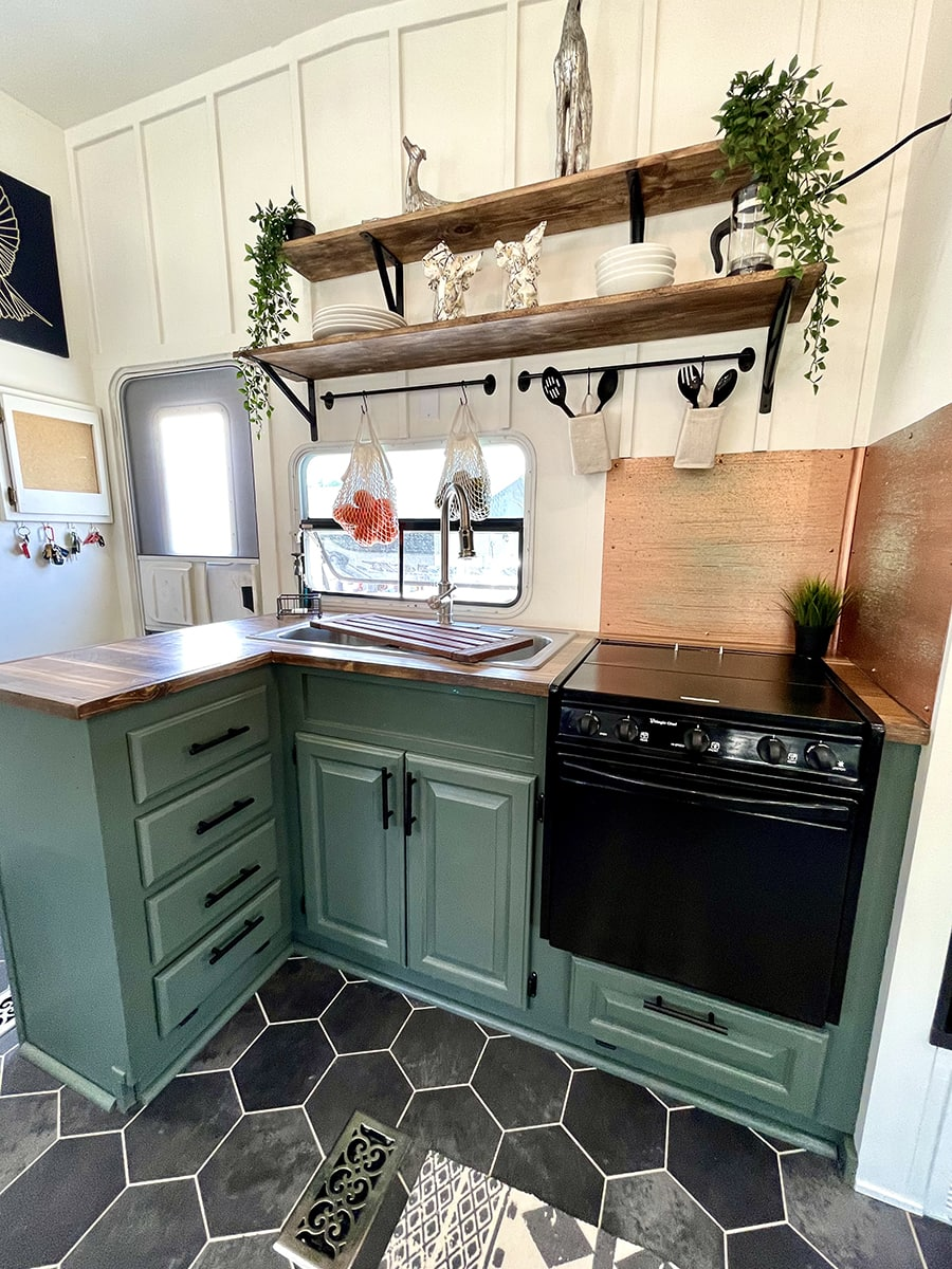 RV Kitchen with Sherwin Williams Pewter Green cabinets