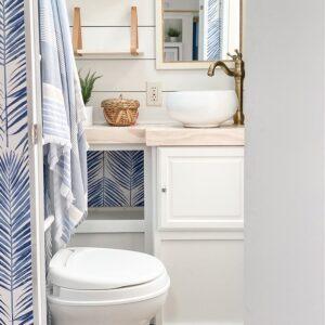 renovated coastal RV bathroom